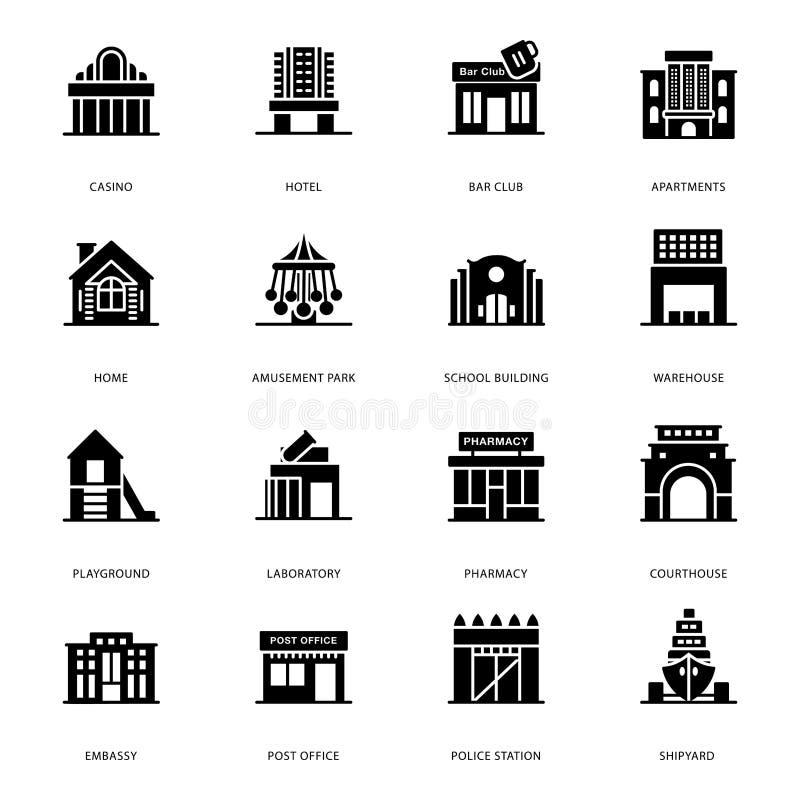 Skåravektorer av byggande arkitekturer vektor illustrationer