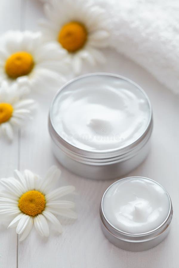 Skóra czyści kosmetyczną śmietankę z chamomile kwitnie witamina zdroju płukankę zdjęcie royalty free