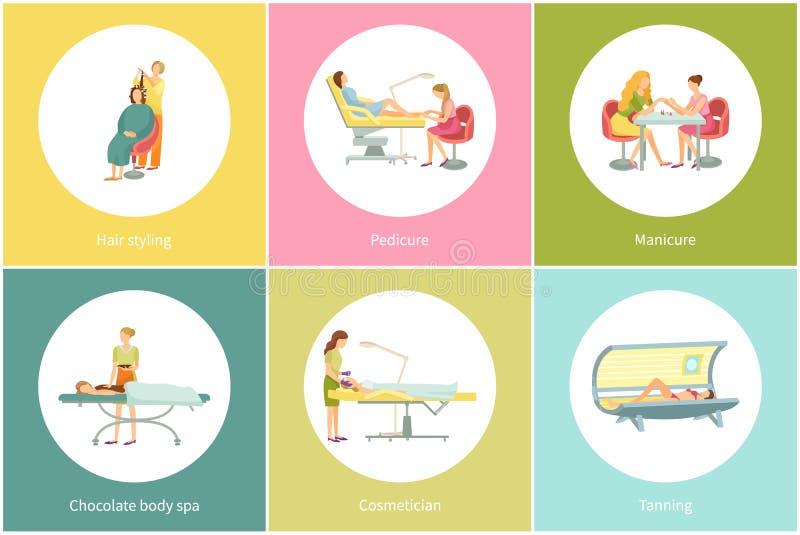 Skórnicza procedura w zdroju salonu Dębnym Zyskuje wektorze ilustracji