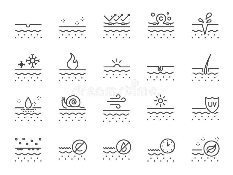 Skóry ikony kreskowy set Zawierać ikony jako kolagen, piękno, skincare, nawilżanie, naturalni i bardziej ilustracji