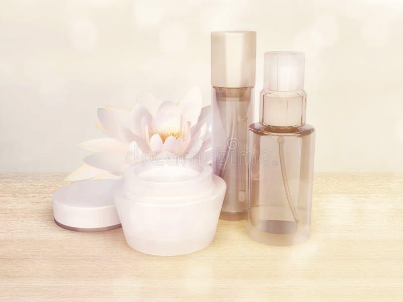 Skóry opieki produkty z Lotosowym kwiatem zdjęcia royalty free