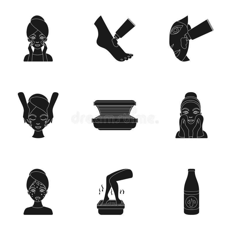 Skóry opieki ustalone ikony w czerń stylu Duża kolekcja skóry opieki symbolu zapasu wektorowa ilustracja ilustracji