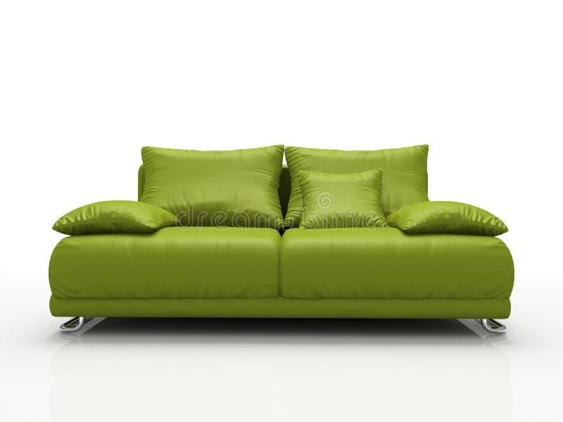 skórzana sofa, zielona ilustracja wektor