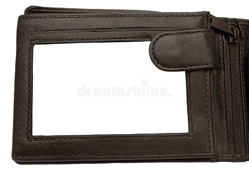 skórzany ramowy ścieżka zdjęcia w portfel. zdjęcie stock