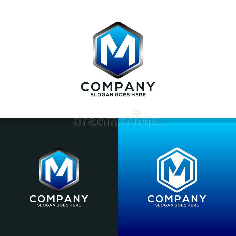 Sköld av bokstav M Logo Design Template royaltyfri illustrationer