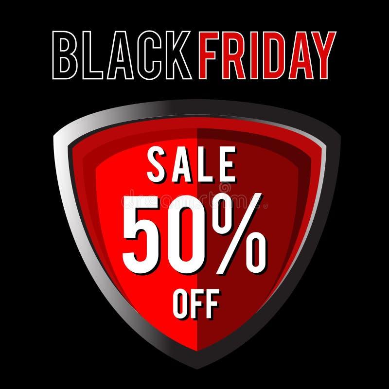 Sköld av den svarta fredag försäljningen vektor illustrationer