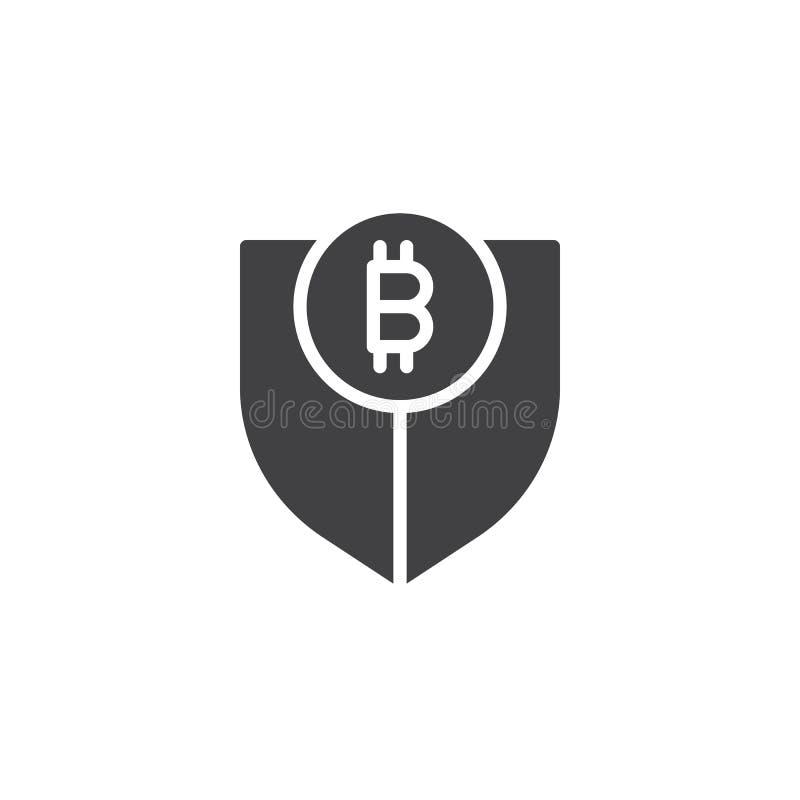Sköld med bitcoinvektorsymbolen stock illustrationer