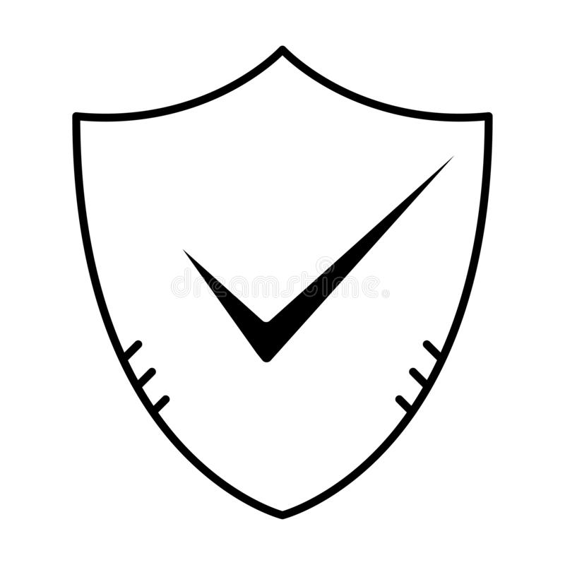 Sköld med checkmarktecknet Skissera den godkända och korrekta symbolen i plan stil Kontrollfästingfläck som ok symbol av affärspr stock illustrationer