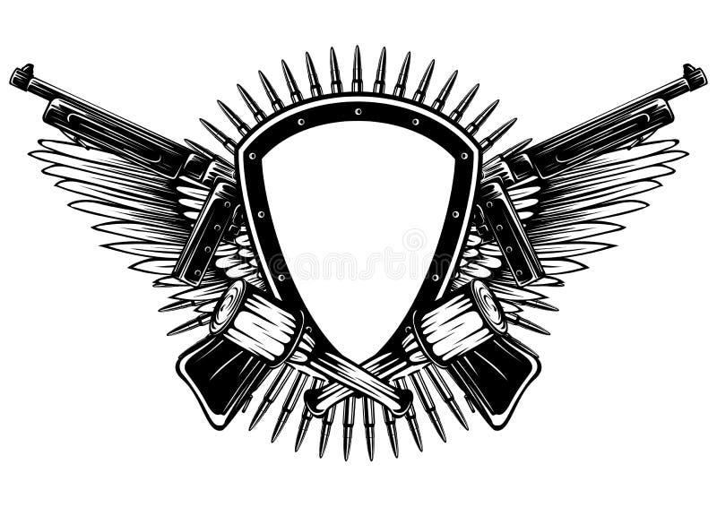 Sköld med den korsade maskingevär och granaten royaltyfri illustrationer