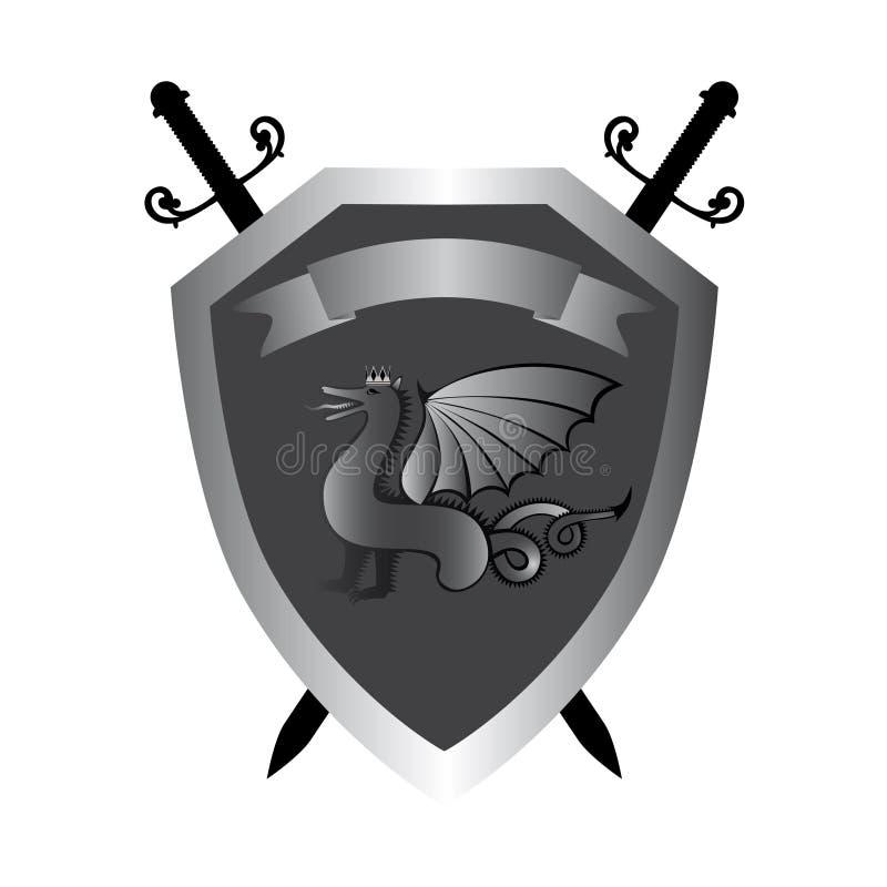 Sköld med den kungliga draken och svärden royaltyfri illustrationer