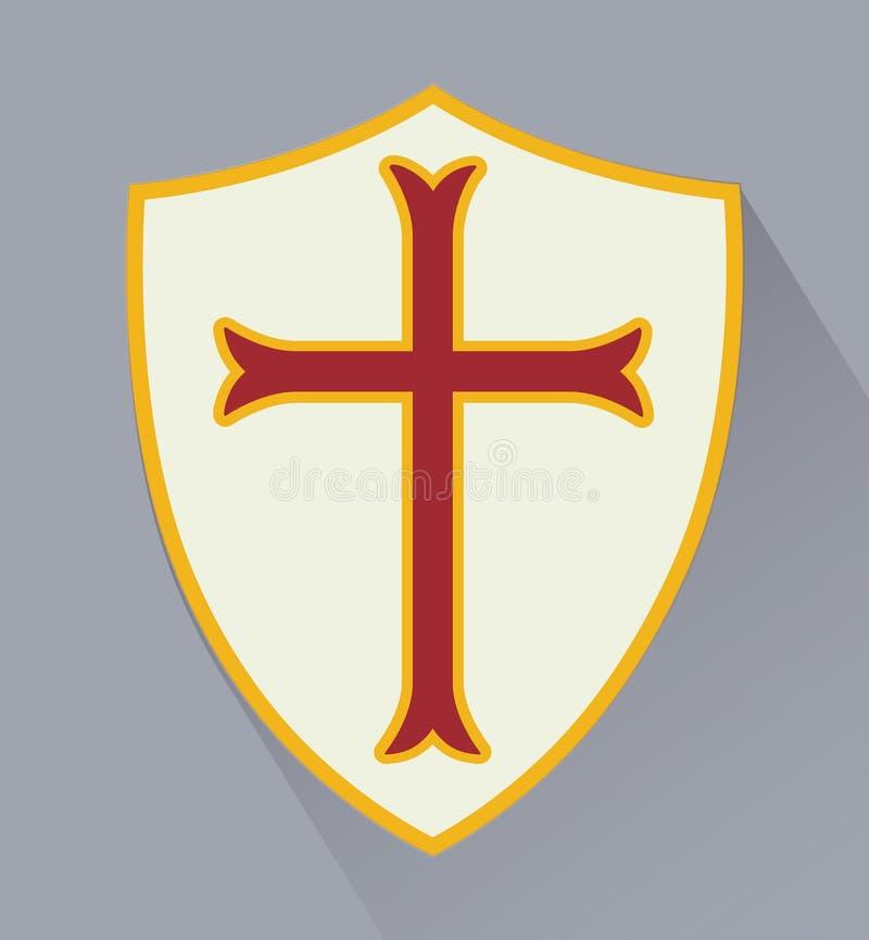 Sköld med emblemet av beställning av riddare av Templars stock illustrationer