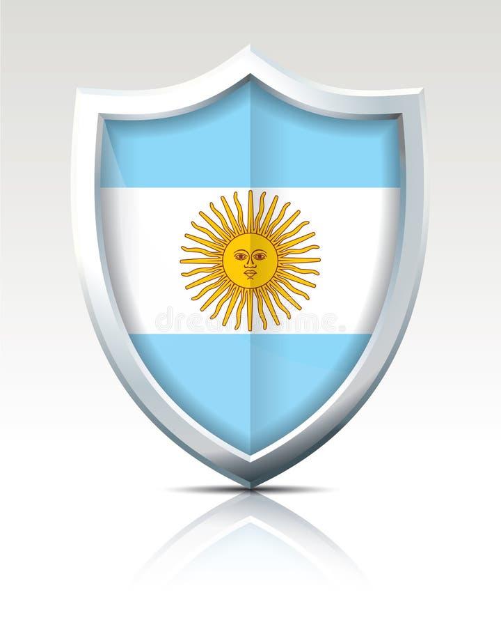 Sköld med flaggan av Argentina royaltyfri illustrationer