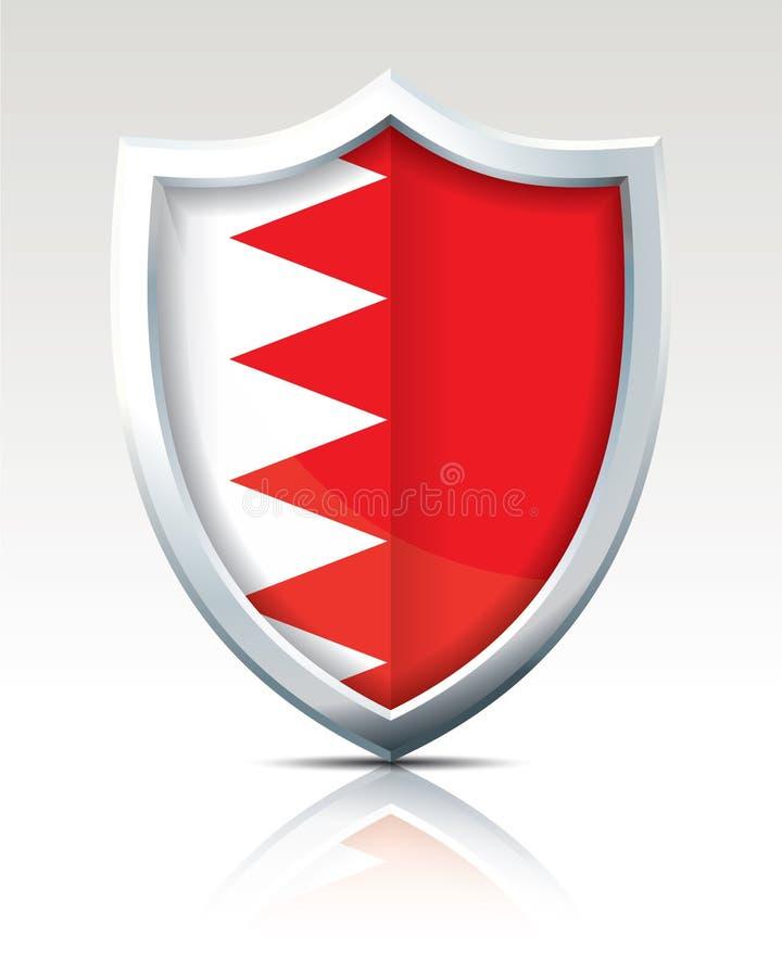 Sköld med flaggan av Bahrain stock illustrationer