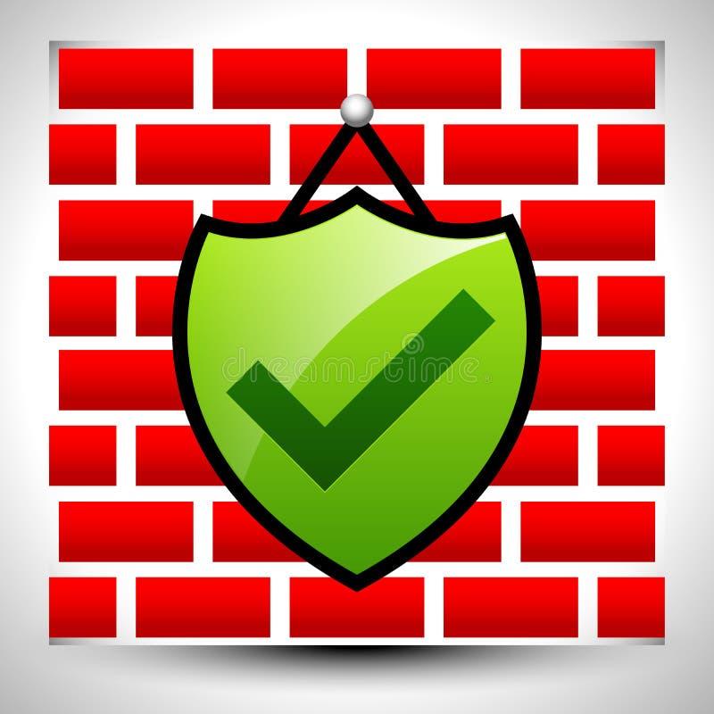 Sköld med kontroll-fläcken som hänger på väggen för IT-begrepp eller hem- s stock illustrationer