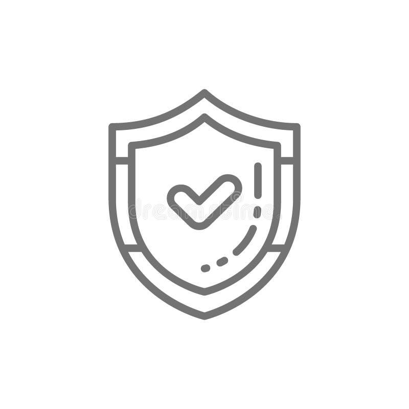 Sköld med kontrollfläcken, kvalitets- kontrollskydd, accepterad godkänd linje symbol royaltyfri illustrationer