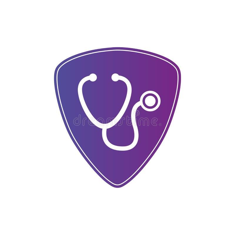 Sköld med stetoskopet, medicinskt skyddssjukvårdbegrepp Klinik- och kardiologipictogram Vektorillustration som isoleras p? vektor illustrationer