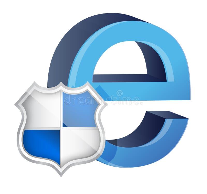Sköld med symbolet för internet vektor illustrationer