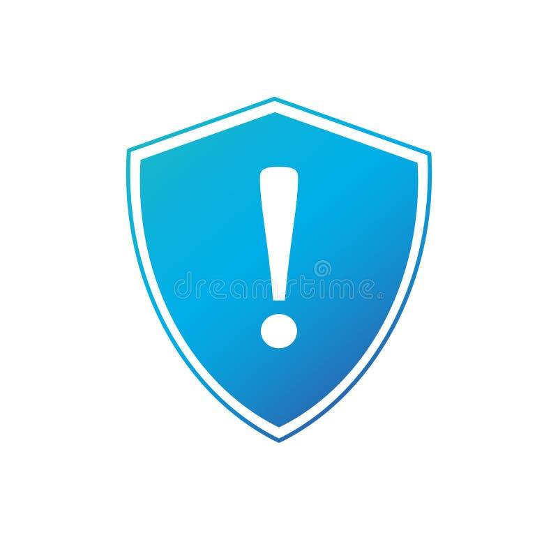 Sköld med utropsteckensymbolsvektorn Skyddsvarningsillustration Vaken logo Säkerhets- och försäkringsymbol vektor royaltyfri illustrationer