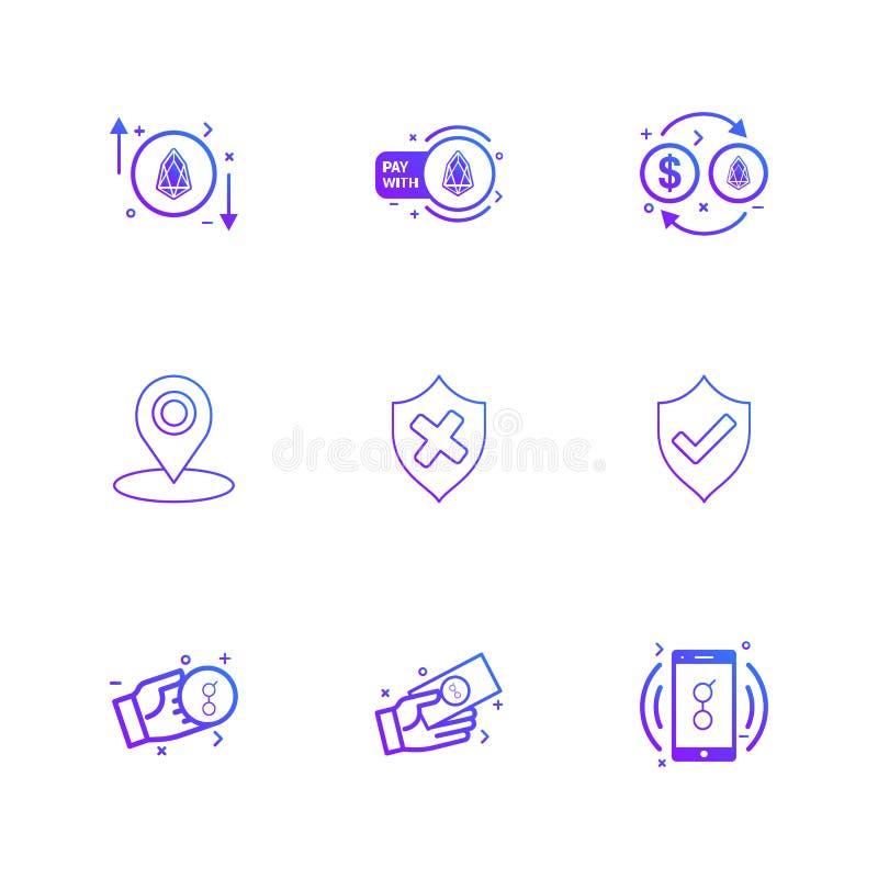 sköld navigering, golem, mobil, pengar, mynt, eps-symboler stock illustrationer