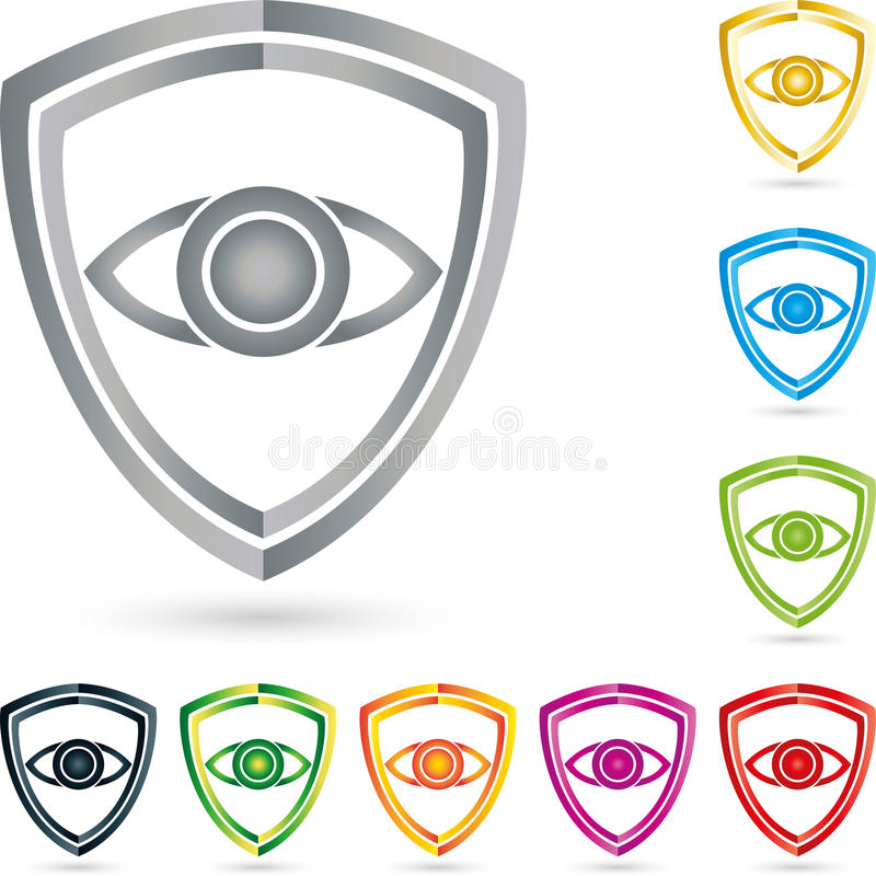 Sköld och öga, vapensköld, samling, säkerhet och sköldlogo vektor illustrationer