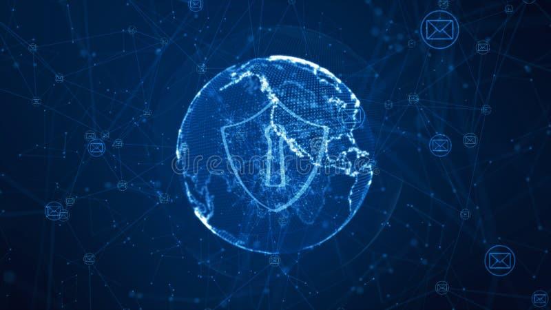 Sköld- och emailsymbol på det säkra globala nätverket, Cybersäkerhetsbegrepp Jordbest?ndsdel som m?bleras av Nasa royaltyfri illustrationer