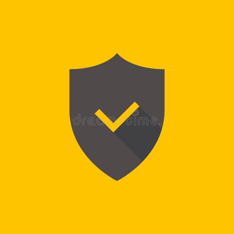Sköld- och kontrollfläcksymbol royaltyfri illustrationer