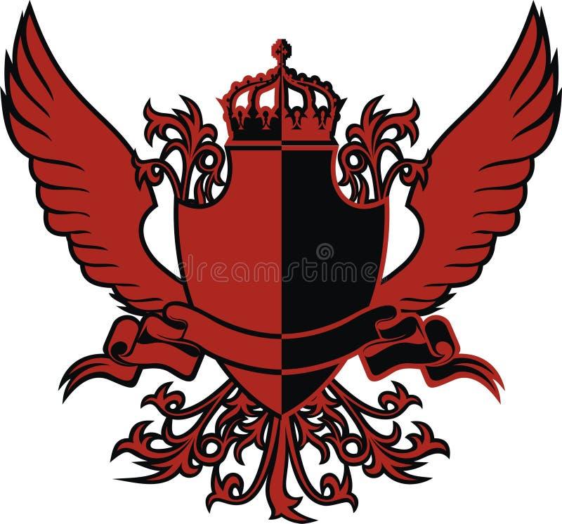 Sköld och vingar royaltyfri illustrationer