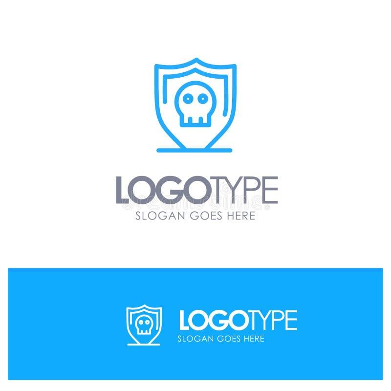 Sköld säkerhet, säker vanlig blå översikt Logo Place för Tagline stock illustrationer