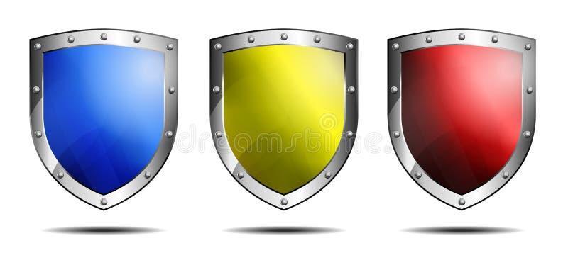 Sköld som tre är blå som är gul och som är röd vektor illustrationer