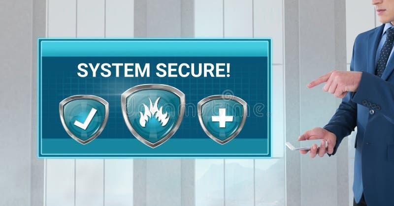 Sköldar för Antivirussäkerhetsskydd med systemet säkrar text royaltyfri bild