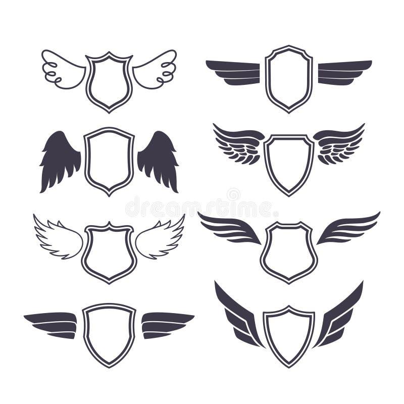 Sköldar med vingar royaltyfri illustrationer
