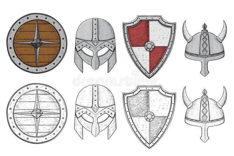 Sköldar och hjälmar Viking utrustning Den tecknade handen skissar vektor illustrationer