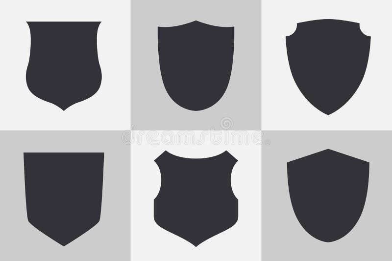 Sköldar och symboler för emblemvektorsymboler vektor illustrationer