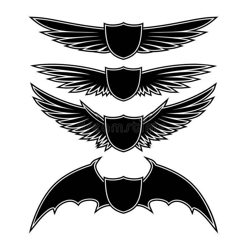 Sköldar och vingar vektor illustrationer