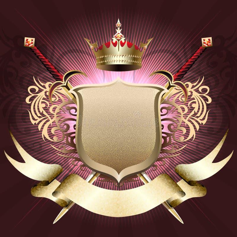 Skölden med kronan vektor illustrationer