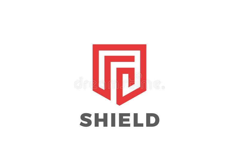 Skölden skyddar vektorn för försvarlogodesignen Securit vektor illustrationer