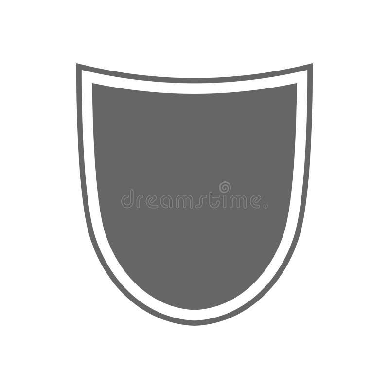 Sköldformsymbol Grått etiketttecken som isoleras på vit Symbol av skydd, armar, lagheder, säkerhet, säkerhet plant vektor illustrationer