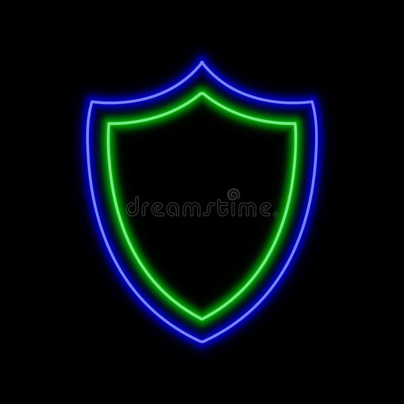 Sköldneontecken Ljust glödande symbol på en svart bakgrund royaltyfri illustrationer