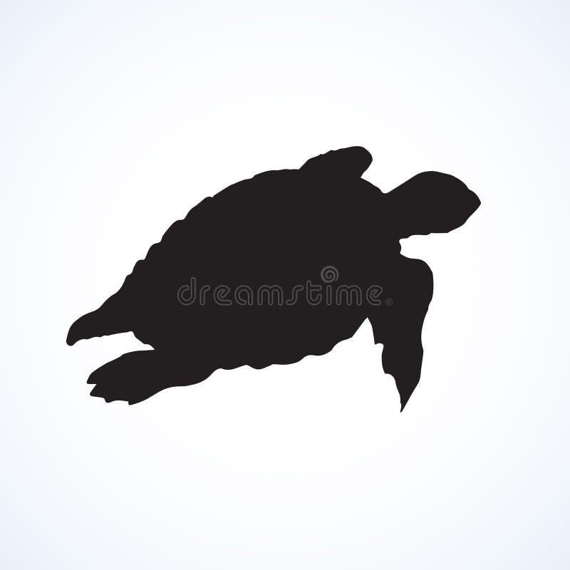 Sköldpadda bakgrund som tecknar den blom- gräsvektorn stock illustrationer