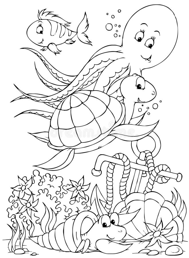 sköldpadda för bläckfisk för krabbafiskensling royaltyfri illustrationer