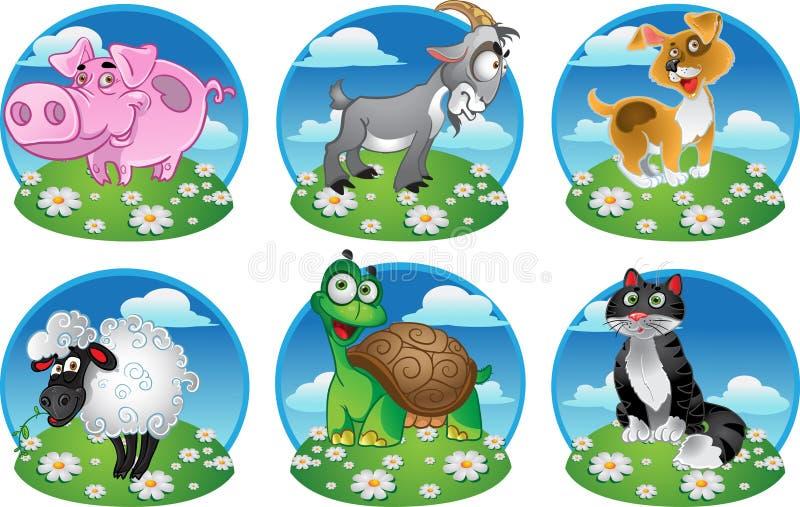 sköldpadda för får för pig för get för katthund rolig royaltyfri illustrationer