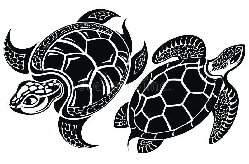 Sköldpadda kontrollera designbilden min liknande tatuering för portföljen royaltyfri illustrationer