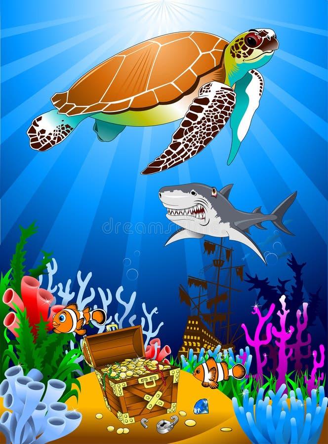 Sköldpadda och skatterna royaltyfri illustrationer
