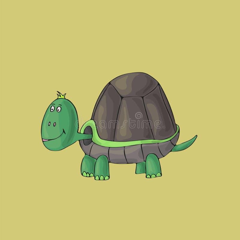 Sköldpadda som är gullig på grön bakgrund Isolerat tecknad filmvektortecken royaltyfri illustrationer