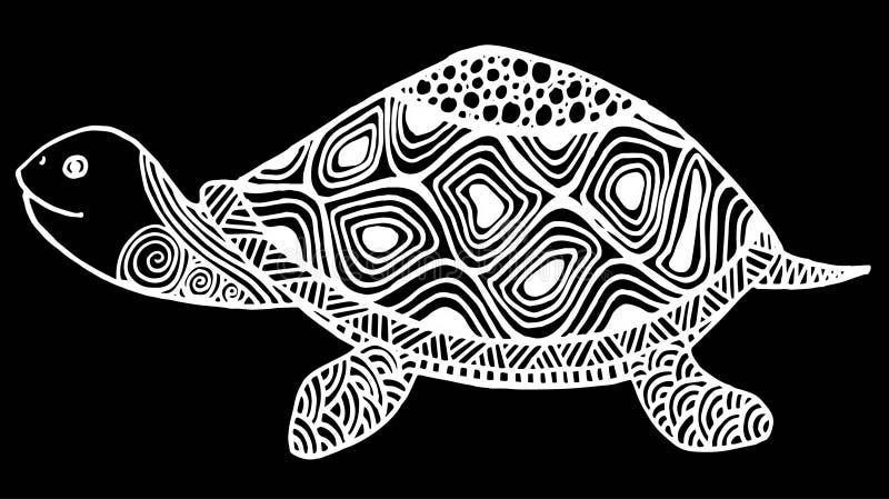 Sköldpaddafärgläggningbok för vuxen människaillustration Anti--spänning färgläggning för vuxen människa Zentangle stil stock illustrationer