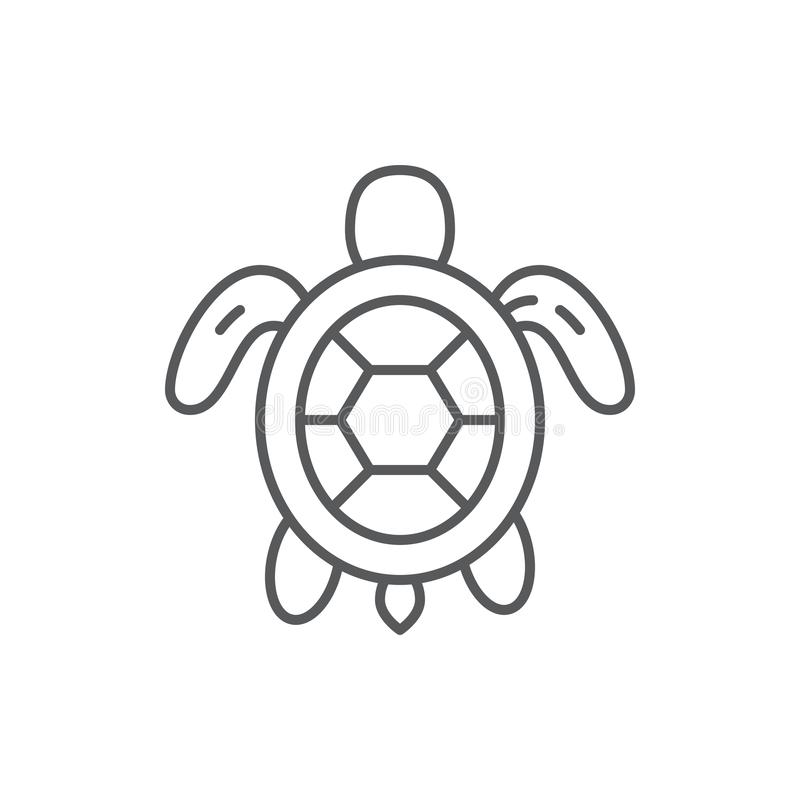 Sköldpaddahav och symbol för översikt för marin- djur för för havdjurliv eller akvarium redigerbar royaltyfri illustrationer
