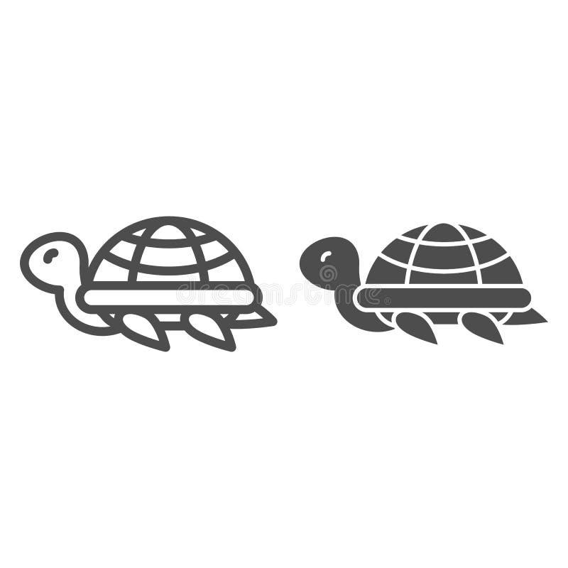 Sköldpaddalinje och skårasymbol Djur vektorillustration som isoleras på vit Design för sköldpaddaöversiktsstil som planläggs för vektor illustrationer