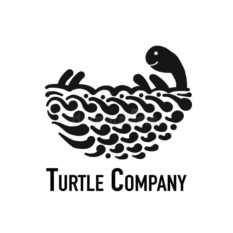 Sköldpaddalogo, svart kontur för din design vektor illustrationer