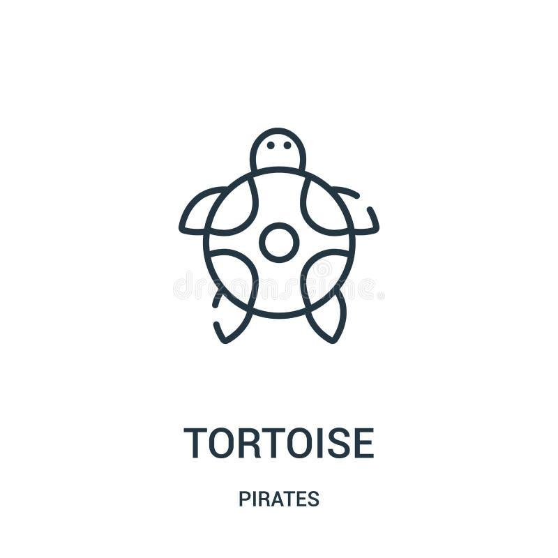 sköldpaddasymbolsvektorn från piratkopierar samlingen Tunn linje illustration för vektor för sköldpaddaöversiktssymbol Linjärt sy royaltyfri illustrationer