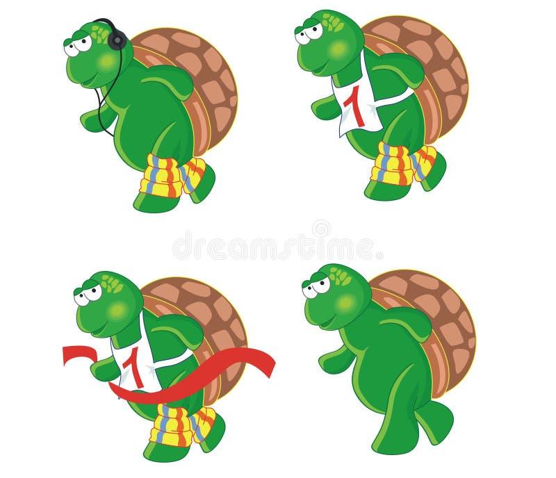 sköldpaddor för tecknad film fyra stock illustrationer